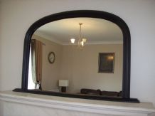 "Large BLACK Arched Over Mantle Mirror 47""x31"" 120cm x 79cm Save ££s Insured p&p"